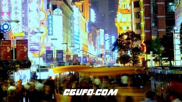 2080-快速街景上海、夜高清实拍视频素材