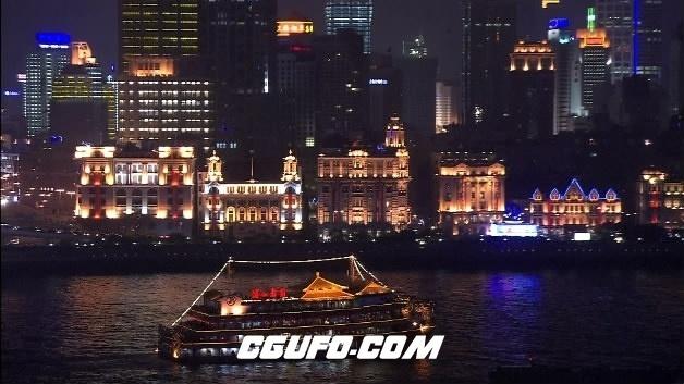2099-上海黄埔江灯光夜景(游船经过)高清实拍视频素材