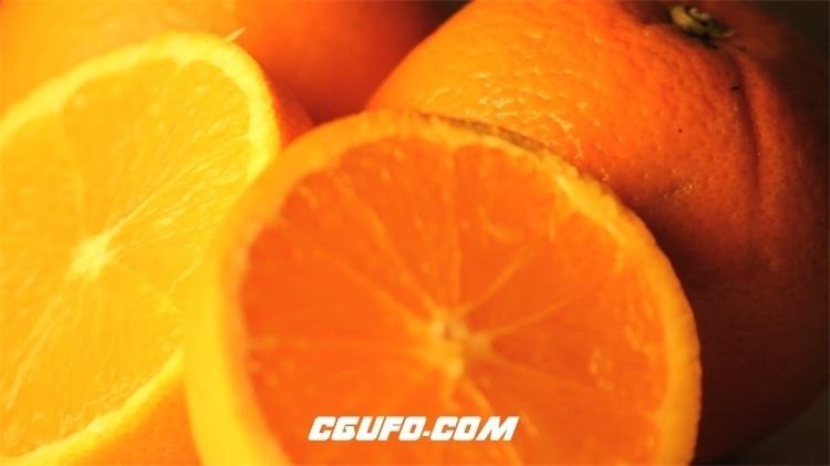 2175-新鲜水果香橙果肉半体旋转摆设美食展示宣传广告高清视频实拍