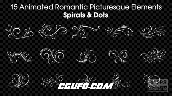 150-15组花纹动画带通道高清视频素材,15 Animated Romantic Picturesque Elements Spirals and Dots