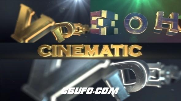6134震撼E3D文字logo演绎动画AE模版,Cinematic Logo Text Reveal
