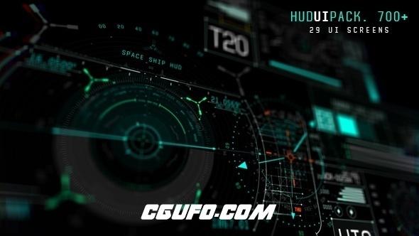 6152-700组HUD高科技UI界面动画AE模版,Hud UI Pack 700+