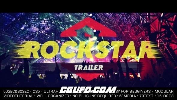 6155唯美大气图片视频标题文字特效动画AE模版,Rockstar Trailer