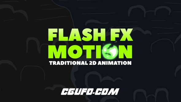 6166-300组卡通手绘闪电烟雾火焰特效MG动画元素带音乐与视频素材AE模板,FLASH FX MOTION – Traditional 2d Animated Elements
