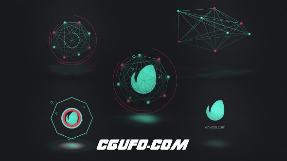 6180高科技创意logo演绎动画AE模版,Connected Shapes Logo Reveal