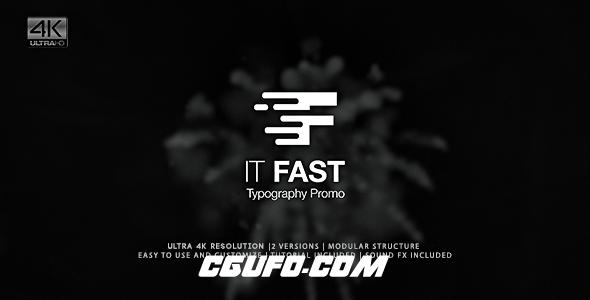 6190快速图片文字包装动画AE模版,It Fast – Typography Promo