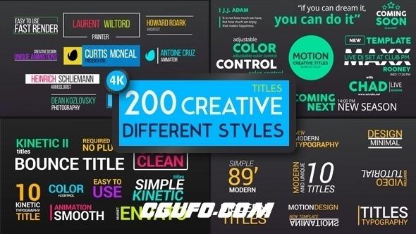 6210多种风格文字标题动画AE模版,Titles Different Styles