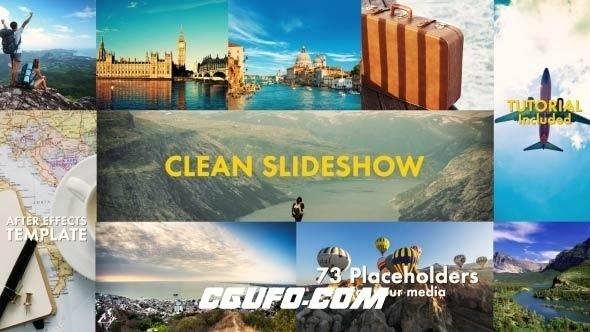 6249唯美简洁图片展示动画AE模版,Clean Slideshow