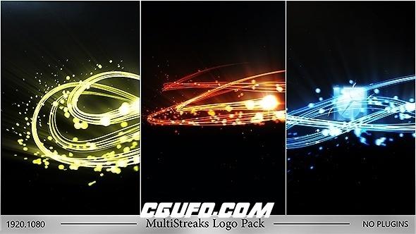 6258绚丽光线粒子logo演绎动画AE模版,MultiStreaks Logo Pack