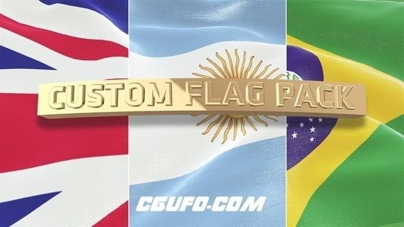 6288自定义国旗动画AE模版,Custom Flag Pack