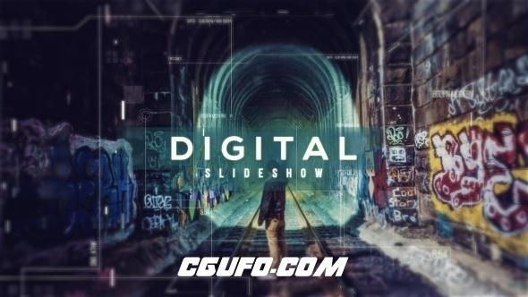 6296数字科技图文包装动画AE模版,Digital Parallax Slideshow | Opener