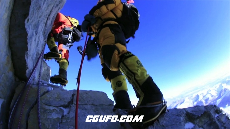 2185-勇闯雪山极限体育运动坚持不懈攀登高海拔雪山峰高清视频拍摄