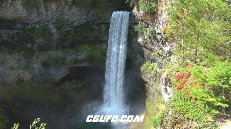 2191-震撼壮丽森林阳光照射高山间瀑布景色自然风光美景高清视频拍摄