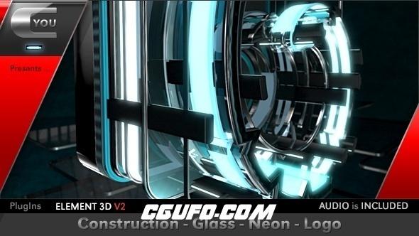 6330大气E3D霓虹灯文字特效动画AE模版,Construction Glass Neon Logo