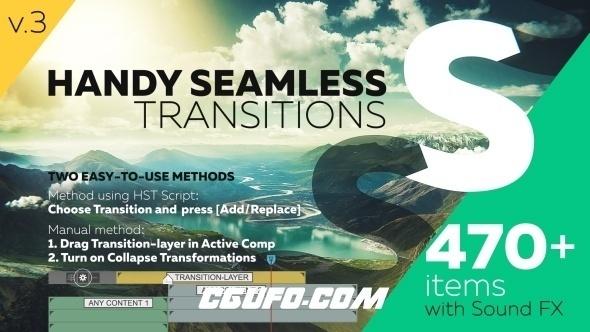 6346多组转场过渡特效动画AE模版,Handy Seamless Transitions | Pack & Script V3