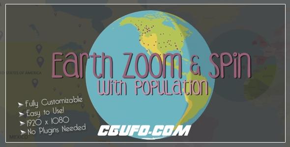 6382地球定位动画AE模版,Earth Zoom and Spin with Population Template