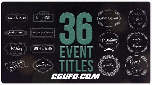 6386-36组婚礼文字标题特效动画AE模版,36 Event Titles