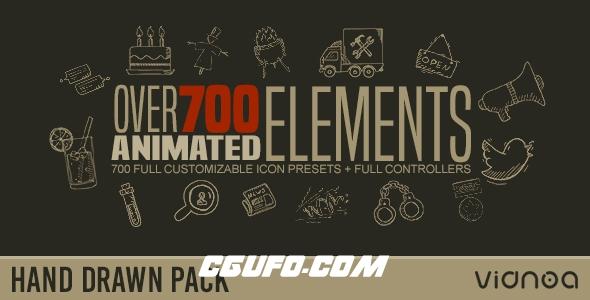 6389手绘元素动画素材包AE预设文件,Hand Drawn Elements Pack