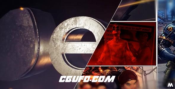 6391电影漫画分镜头三维Logo动画开场动画E3D模板AE模版,Comic Intro