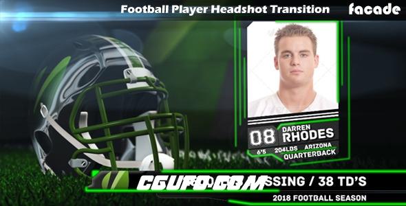 6415足球开场世界杯足球开场动画AE模版,Football Player Headshot Transition