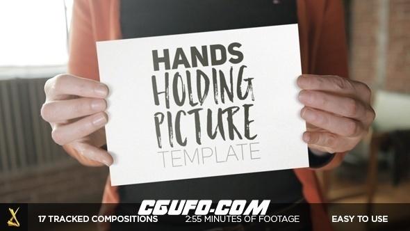 6432实拍手持白板图片视频文字展示片头动画AE模版,Hands Holding Pictures