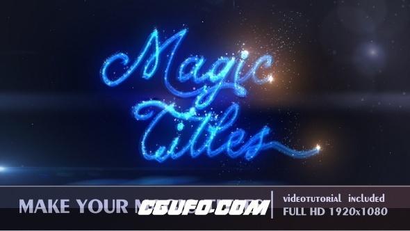 6434光线粒子手写文字标题动画AE模版,Magic Titles