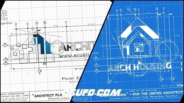 6435手绘线条建筑蓝图Logo演绎动画AE模版,Architect Logo