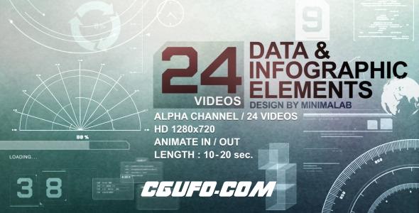 6436-24组数据图表包装特效动画高清视频素材,24 Videos Data & Infographic Elements