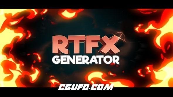 6453-445组手绘游戏火焰烟雾水流雷电能量MG动画AE模版+通道视频素材,RTFX Generator + 440 FX pack