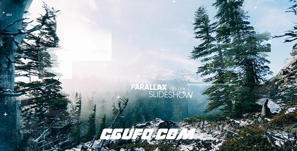 6456文字图形视差图片开场片头动画AE模版,Parallax Slideshow