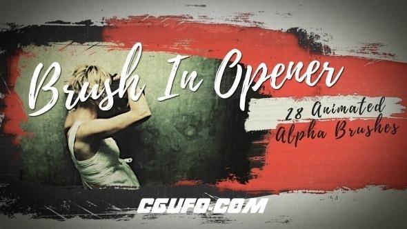 6459笔刷特效图片展示动画AE模版,Brush In Opener