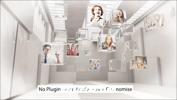 6461三维玻璃方块室内图片展示动画AE模版,Innovation Logo Teaser