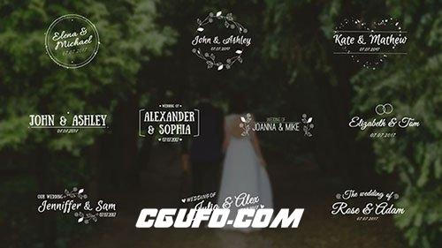 6473婚礼标题文字特效动画AE模版,Wedding Titles