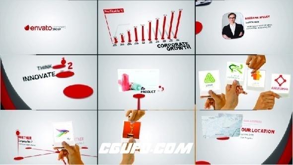 6485公司企业创意宣传动画AE模版,Corporate Profile With Hand Gestures