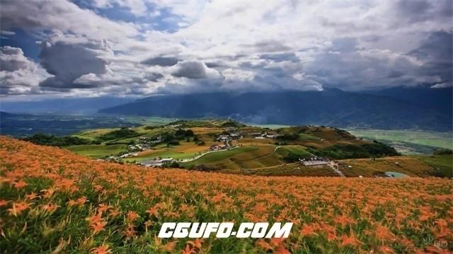 2240台湾唯美山景草原花朵盛开天空云层大自然景色高清视频延时实拍