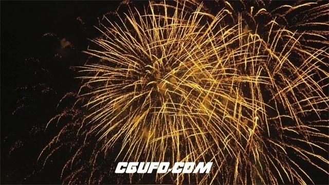 2245盛大喜庆节日场景烟花空中爆发绽放流体光效烟火表演高清视频实拍