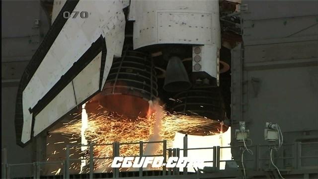 2328高科技太空飞船发动机火焰动力爆发倒计时升空高清特写视频实拍