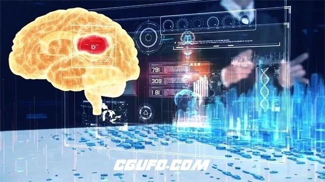 2362超强技术虚拟场景建筑大脑未来科技发展蓝图宣传片高清视频实拍