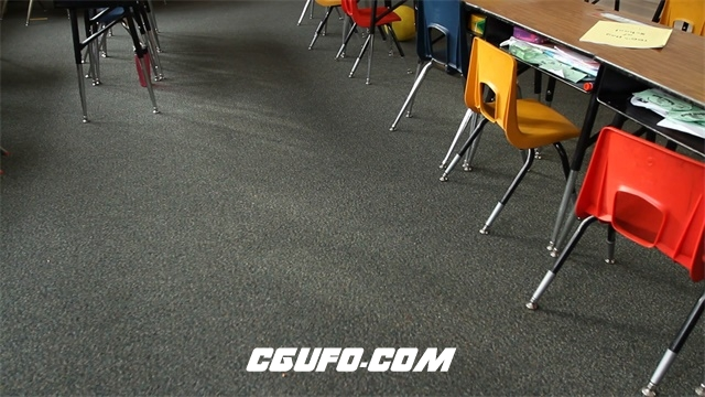 2379儿童教育小学校园课堂教室整齐摆放镜头视觉上移高清视频实拍