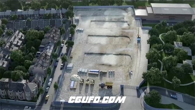 2380繁华城市高楼小区商圈建设快速建造过程发展房地产高清视频实拍