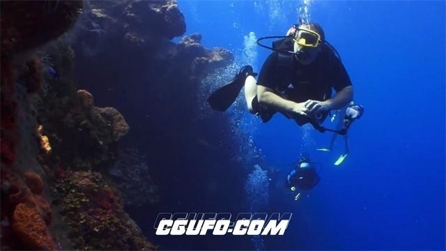 2434-深海水底潜水人员游泳沿珊瑚礁拍照采集资料海底探索高清视频实拍