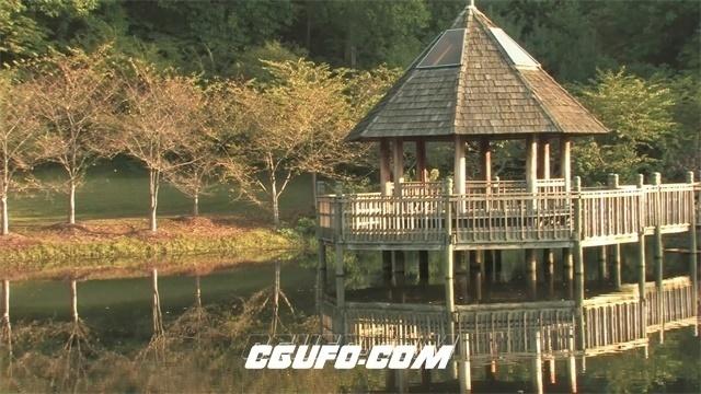 2436-山水风光湖中镜面清水休闲小亭实拍高清视频素材