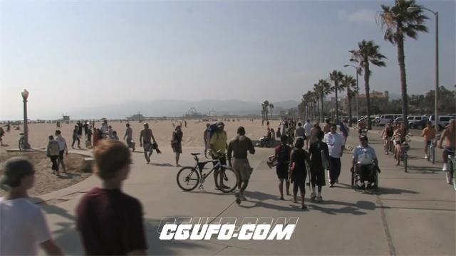 2437-沙滩金光灿灿风起沙涌实拍高清视频素材