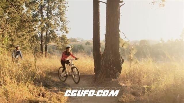 2446-日落黄昏树林小路跟骑行爱好者林间骑自行车休闲生活高清视频实拍