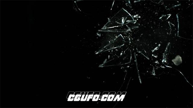 2498-唯美慢动作石头砸破玻璃碎片飞溅慢镜高清实拍视频素材