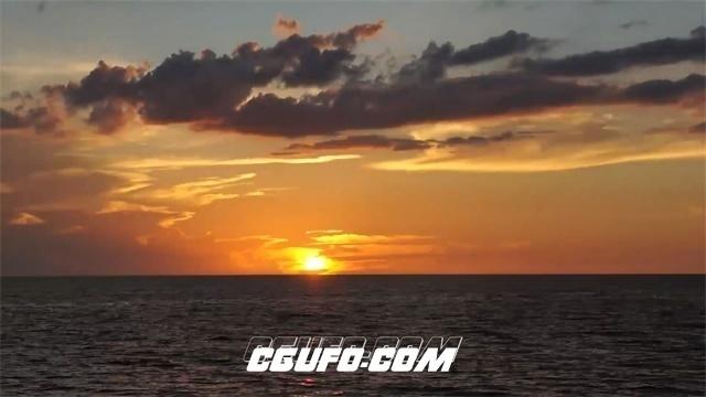 2501-唯美浪漫大海水面上日出日落渲染整片天空高清延时实拍视频素材
