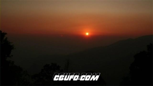 2507-唯美高山观赏艳丽日出升起自然景象高清视频延时实拍
