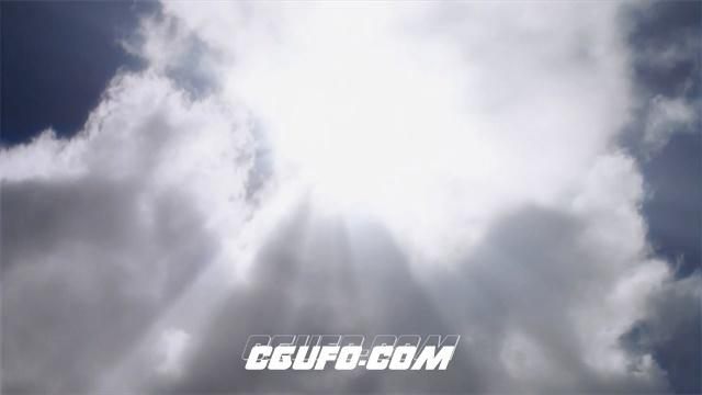 2718-天空景色白云飘浮阳光照射云层移动唯美画面高清实拍视频素材