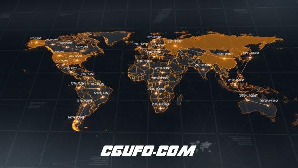 6487科技感世界地图动画AE模版,World Map