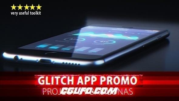 6490信号损坏手机APP动画展示宣传片AE模版,Glitch App Promo
